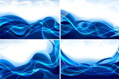 梦幻动感蓝色线条背景矢量素材