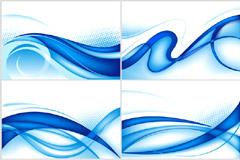 简约蓝色动感线条背景矢量素材