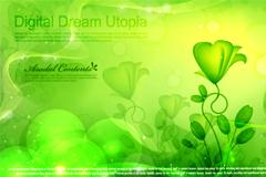 春意盎然绿色梦幻背景矢量素材