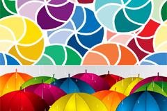 漂亮的花雨伞矢量素材