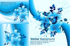 梦幻蓝色花朵背景矢量素材
