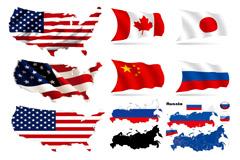 多国立体国旗矢量素材