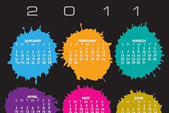 2011年墨水点年历矢量图