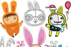 6款卡通兔子矢量素材