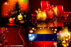 梦幻圣诞吊球元素背景矢量素材
