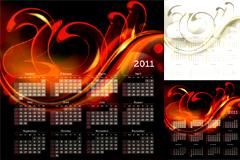2011炫光流行日历模板矢量素材