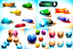 梦幻水晶按钮图标矢量素材