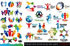 多款抽象人物logo设计矢量素材