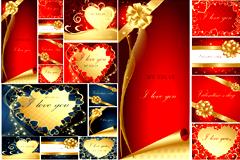 2套精美华丽情人节贺卡模板矢量素材
