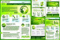 几款绿色环保主题网页设计模板矢量素材