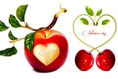 浪漫心形苹果和樱桃矢量素材