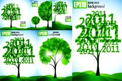 环保主题2011树木矢量素材