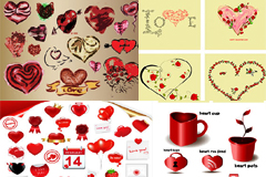 各种浪漫情人节心形元素矢量素材