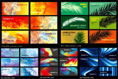5套抽象油彩效果卡片背景矢量素材
