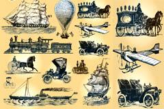欧式古老交通运输工具矢量素材