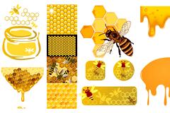 逼真绘制蜜蜂相关矢量素材