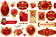 红色精美情人节标签矢量素材