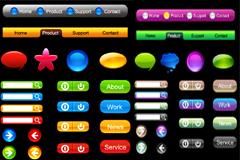 彩色精美水晶按钮矢量素材
