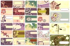 怀旧花卉卡片背景矢量素材
