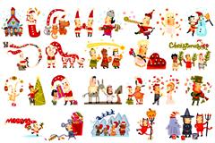 卡通欢乐圣诞矢量素材