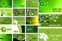 一组绿色卡片模板矢量素材