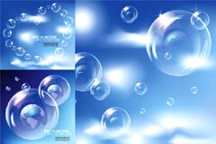 蓝色梦幻气泡背景矢量素材