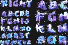 闪光立体英文字母矢量素材