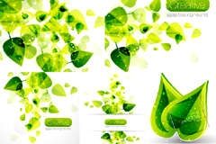 梦幻闪光绿叶背景矢量素材