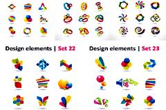彩色立体logo设计矢量素材