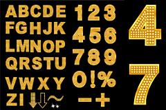 钻石组成的英文字母和数字矢量素材