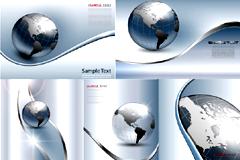 银色地球科技背景矢量素材