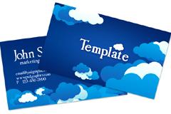 蓝色云朵卡片模板PSD素材