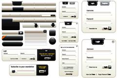 灰白色调网页设计元素矢量素材