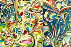绚丽抽象花纹背景矢量素材