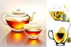 精致茶壶和茶杯矢量素材