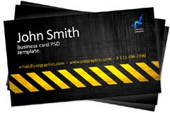 警示条纹名片模板PSD素材