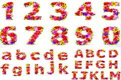 花朵组成的数字和字母矢量素材
