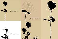 黑白手绘玫瑰花矢量素材