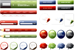 实用网页设计导航和贴纸矢量素材