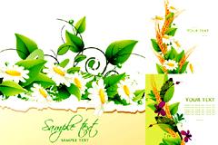 鲜花绿叶背景矢量素材