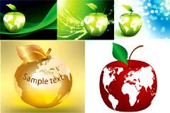 环保主题苹果与地球矢量素材