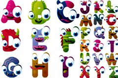 可爱卡通造型字母矢量素材