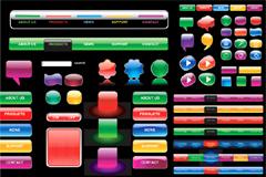 水晶质感网页设计元素矢量素材