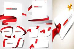 红色丝带与空白卡片矢量素材