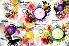 色彩缤纷潮流图形背景矢量素材