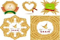 麦穗组成的边框矢量素材