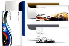 潮流纹样卡片和信封矢量素材