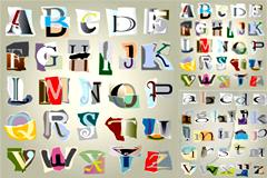 碎纸片拼成的字母矢量素材