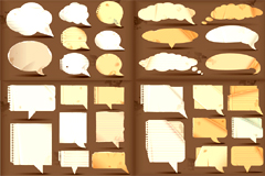 怀旧撕纸对话框矢量素材