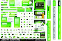 绿色网页设计元素矢量素材